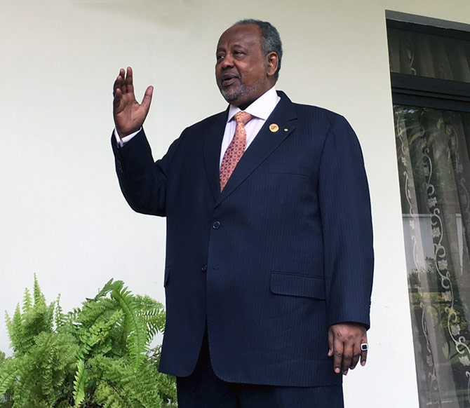 Djibouti's President Ismail Omar Guelleh at his home in Ethiopia's capital Addis Ababa, January 30, 2016. Djibouti's president  defended Beijing's right to build what will be its first foreign military outpost on one of the world's busiest shipping routes in an interview to Reuters. Photograph: Edmund Blair/Reuters