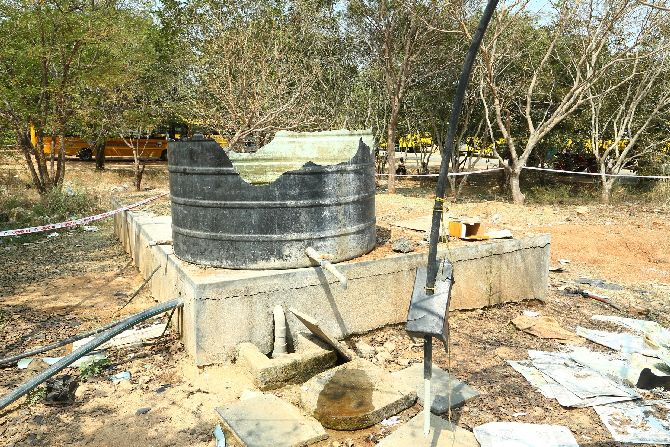 The shattered water tank at the college