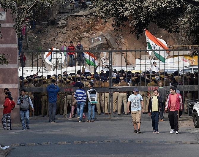 JNU during the agitation, February 2016
