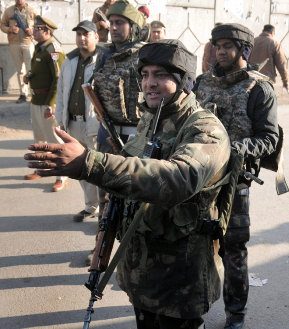 Security personnel outside the Indian Air Force's Pathankot air station.