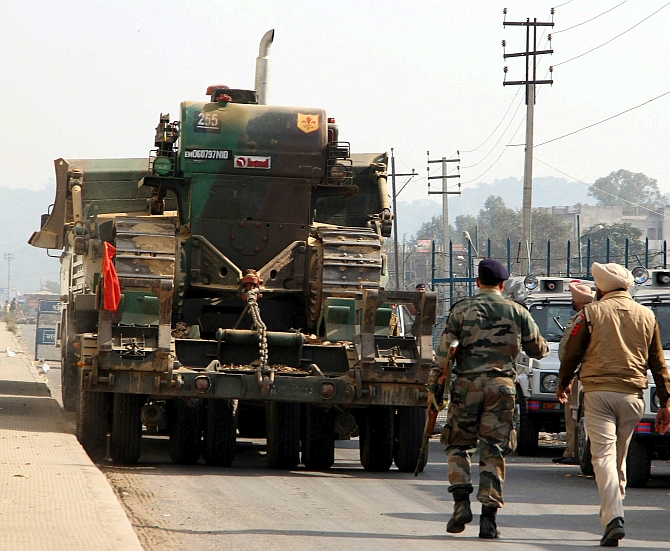 Army trucks arrive at the Pathankot air force base, January 3. Photograph: PTI Photo