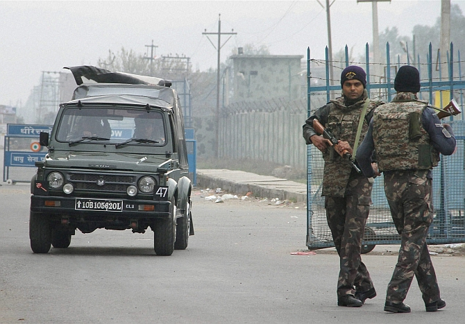 Security personnel outside the Pathankot airbase.
