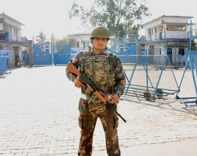 Security personnel outside Pathankot Air Base