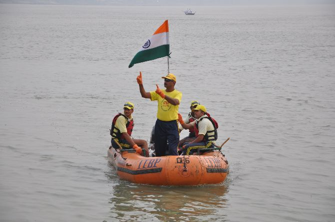 Team leader Surinder Khatri on one of the rafts during the expedition