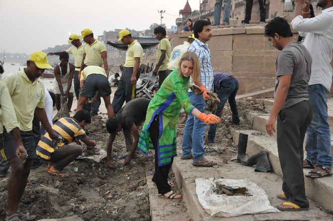 Cleaning the ghats at Varanasi