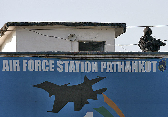 Security personnel at the Indian Air Force's Pathankot air station.
