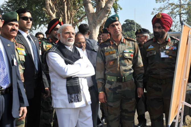 Narendra Modi at the Pathankot air base