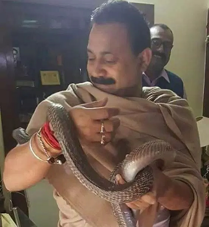 India News - Latest World & Political News - Current News Headlines in India - Bihar education minister's 'ritual' with snakes goes viral