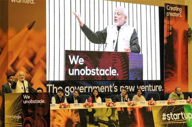 Prime Minister Narendra Modi at the launch of the Start Up India initiative, January 16, 2016.