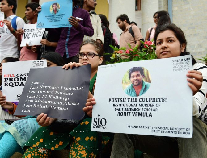 Students protest the suicide of Rohit Vemula, a doctorate student at the Hyderabad Central University, in Bengaluru. Photograph: Shailendra Bhojak/PTI