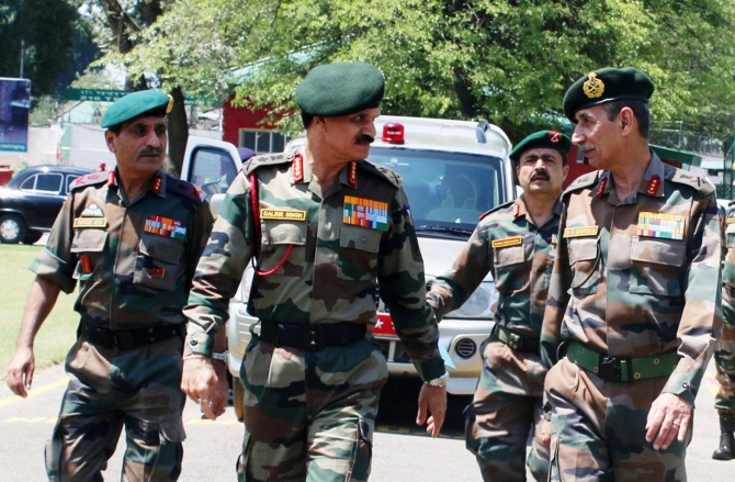 Former Army Chief Gen Dalbir Singh with former Northern Army Commander Lt Gen D S Hooda