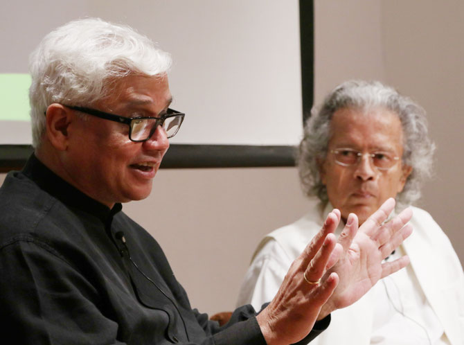 Anil Dharker listens attentively as Amitav Ghosh makes a point.