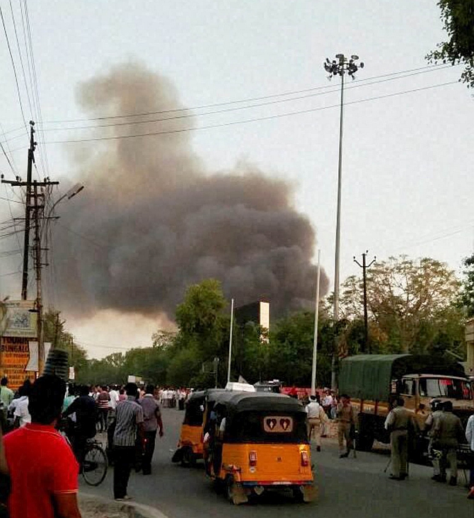 Smoke from the SBVS camp after the battle in Mathura.