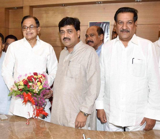 IMAGE: Former Union minister and senior Congress leader P Chidambaram was elected unopposed from Maharashtra.