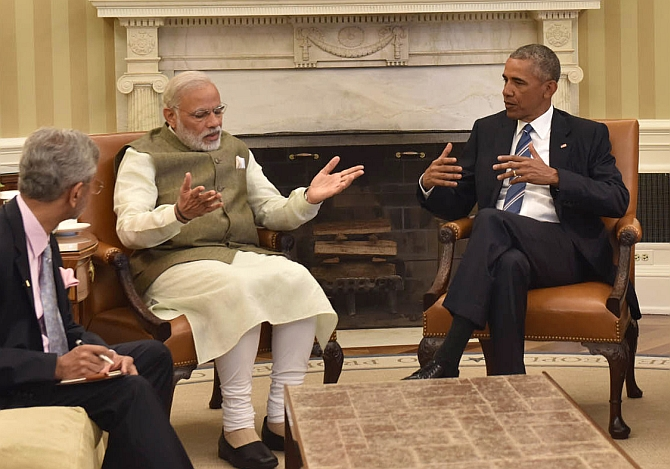 Prime Minister Modi and President Obama make their points as Foreign Secretary Subrahmanyam Jaishankar takes notes, June 7, 2016. Photograph: Press Information Bureau