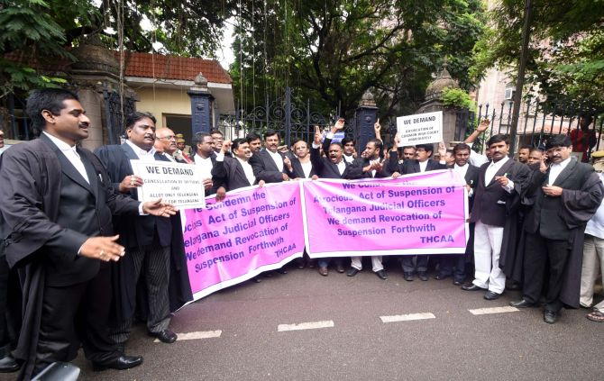 Lawyers protest in Hyderabad