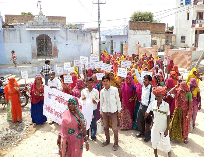 A community rally protesting atrocities against women in Pali, Rajasthan.