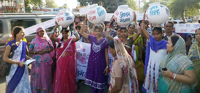 A community rally protesting atrocities against women in Jalore, Rajasthan.