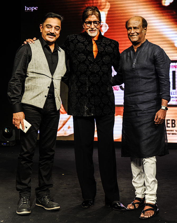 Rajinikanth with Amitabh Bachchan and Kamal Haasan at an event last year.
