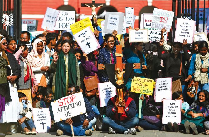 A protest outside a church in New Delhi in February 2015. Christian protesters were demanding better government protection amid concern about rising intolerance after a series of attacks on churches.