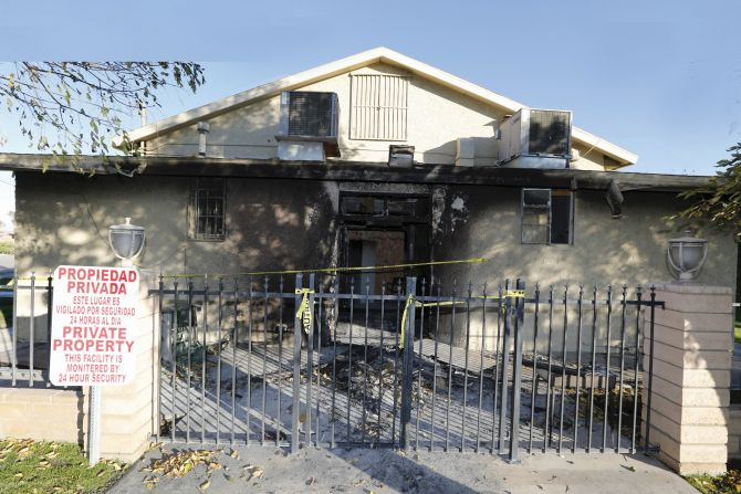 The burned Islamic Society of the Coachella Valley in California in December 2015.