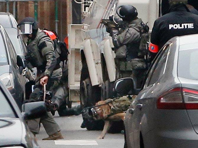 The security operation to capture Salah Abdelslam in the Brussels suburb of Molenbeek, March 18, 2016. Photograph: Francois Lenoir/Reuters