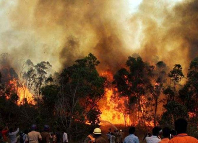 India News - Latest World & Political News - Current News Headlines in India - Uttarakhand forest fires: IAF chopper sprinkles water to douse blaze