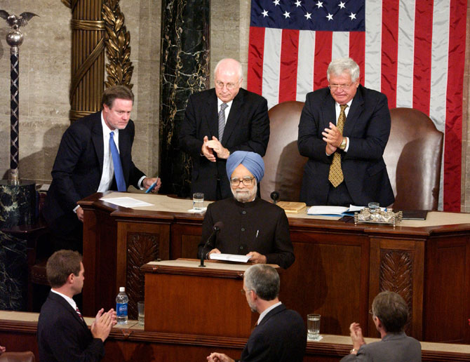 Prime Minister Manmohan Singh addresses a joint session of the United States Congress, July 19, 2005.