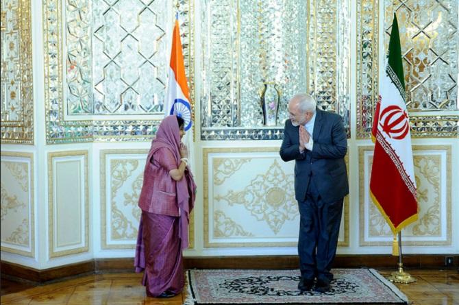 External Affairs Minister Sushma Swaraj greets Iran's External Affairs Minister Mohammad Javad Zarif in Tehran, April 16, 2016. Photograph: MEA/Flickr