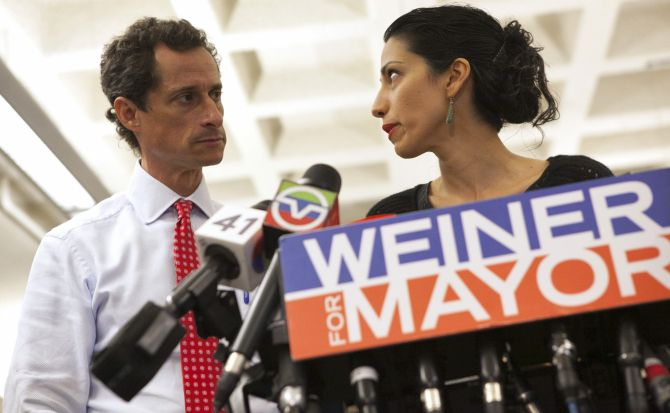 Anthony Weiner, then a New York mayoral candidate, and his wife Huma Abedin at a news conference in New York, July 23, 2013. Photograph: Eric Thayer/Reuters