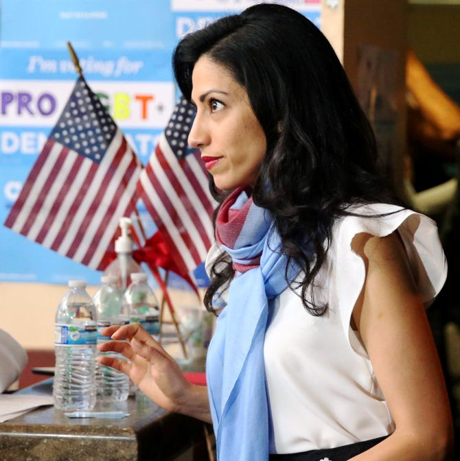 Huma leaves a campaign office in San Francisco, October 13, 2016. Photograph: Lucy Nicholson/Reuters