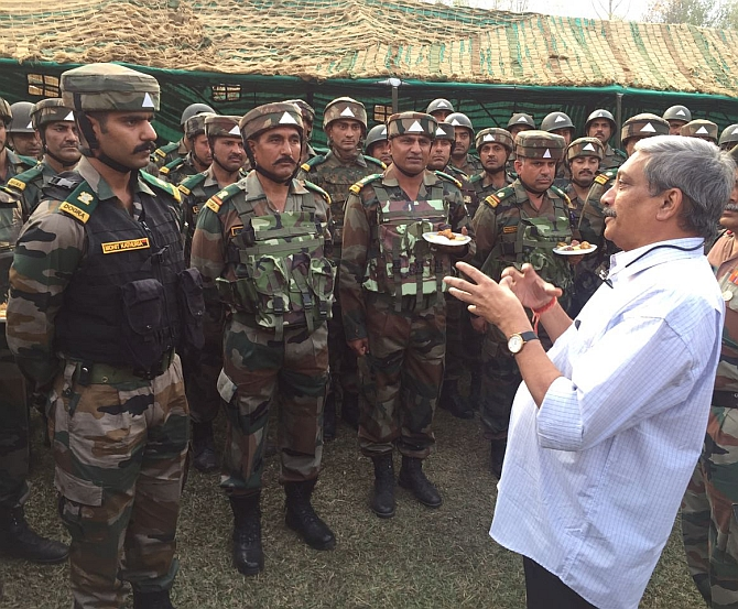 Defence Minister Manohar Parikkar interacts with soldiers at the Uri Brigade camp, which was attacked by terrorists, September 18, 2016 Photograph: Umar Ganie