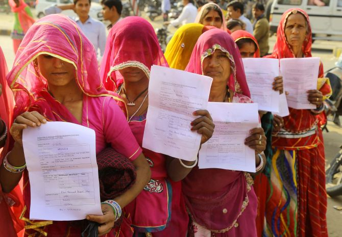 RAJASTHAN: Women queue up outside a bank to exchange their old notes in Beawar. Photograph: PTI Photo
