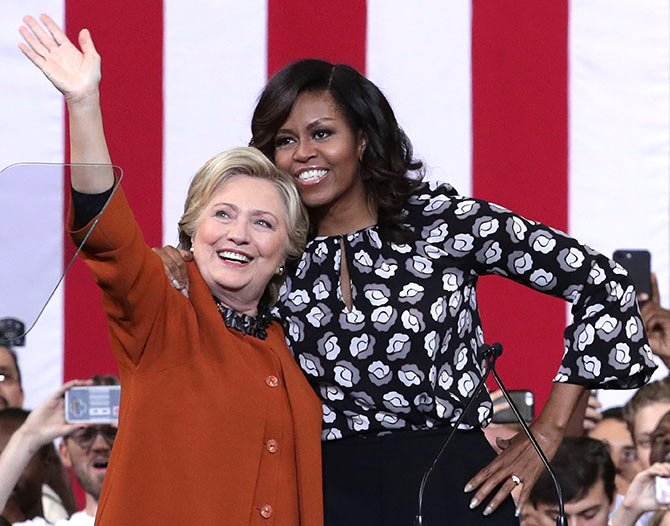 US First Ladies Hillary Clinton and Michelle Obama