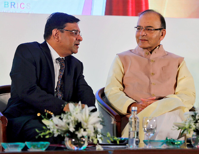 Reserve Bank of India Governor Dr Urjit Patel with Finance Minister Arun Jaitley in Mumbai.