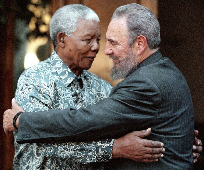 With Nelson Mandela in Houghton, Johannesburg, in 2001. Photograph: Chris Kotze/Reuters