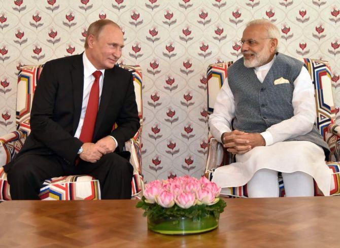 Prime Minister Narendra Modi with Russian President Vladmir Putin at the BRICS summit in Goa, October 15, 2016. Photograph: @MEAIndia/Twitter