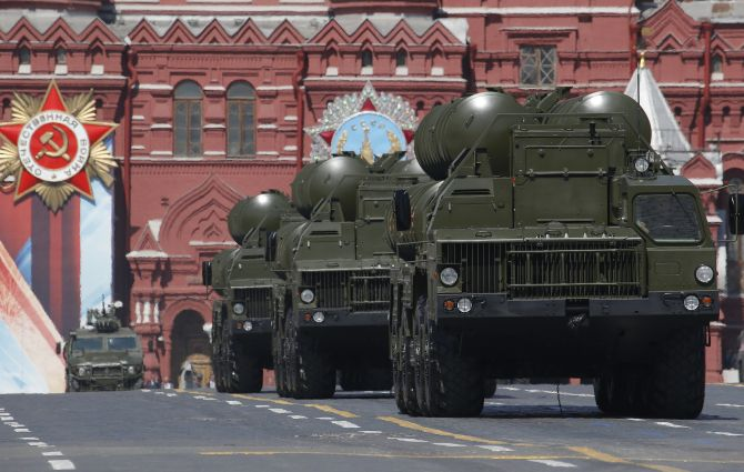 Russian S-400 Triumph medium-range and long-range surface-to-air missile systems during the Victory Day parade, marking the 71st anniversary of the victory over Nazi Germany in World War II, at Red Square in Moscow. Photograph: Sergei Karpukhin/Reuters