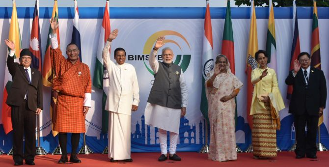 PM Narendra Modi with the BIMSTEC leaders in Goa. Photograph: Press Information Bureau
