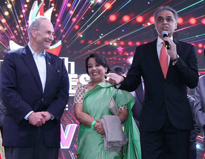 Something Ambassador Syed Akbaruddin, who most Indians will recognise from his tenure as the ministry of external affairs spokesperson, said gives Senator Chuck Schumer and Ambassador Riva Das Ganguly, India's consul general in New York cause to grin. Diwali@New York