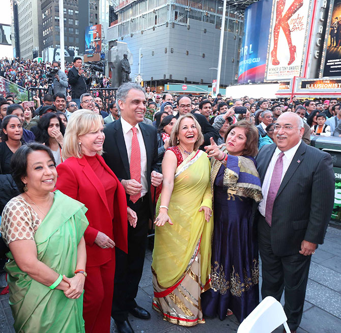 Ambassador Hardeep Singh Puri, India's former permanent representative to the United Nations, Ambassador Riva Das Ganguly, India's consul general in New York, US Congresswoman Carolyn B Maloney, Ambassador Syed Akbaruddin, India's current permanent envoy to the UN, Ranju Batra, the lady behind the successful Diwali Stamp campaign, Neeta Bhasin, CEO, Event Guru and lawyer Ravi Batra at Diwali@Times Square, October 16, 2016.