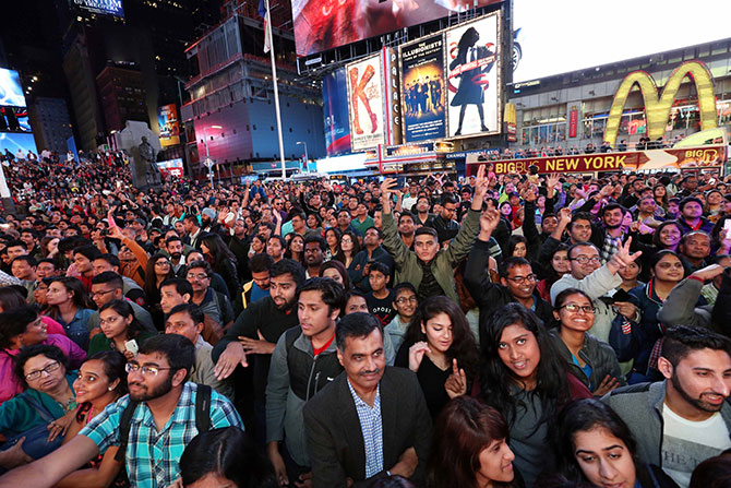 A glimpse of the crowds at Times Square. Diwali@Times Square