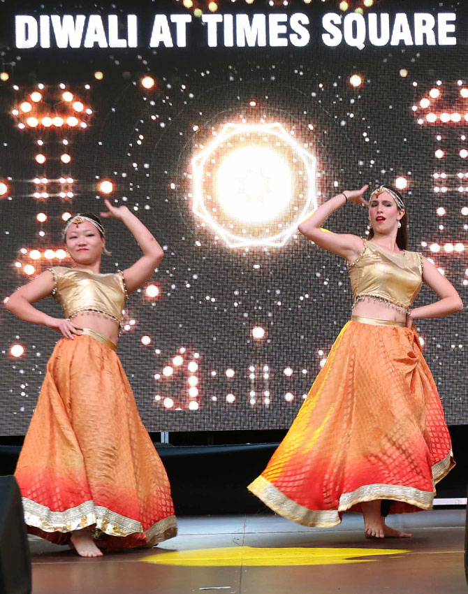 And the perfomances at Diwali@Times Square begin
