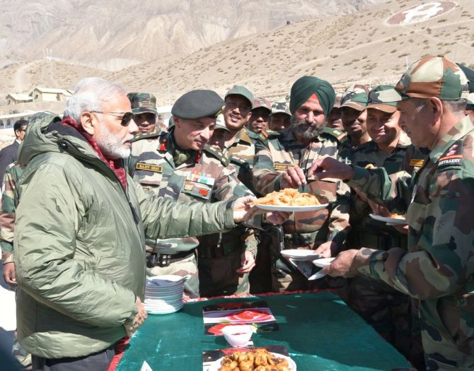 Prime Minister Narendra Modi with soldiers