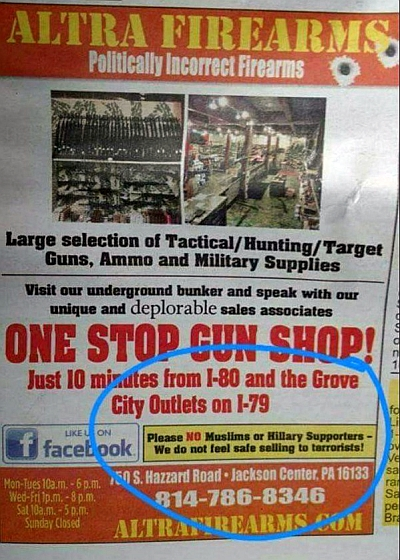 Us Gun Stores Ad Says Wont Sell To Muslims Clinton Backers