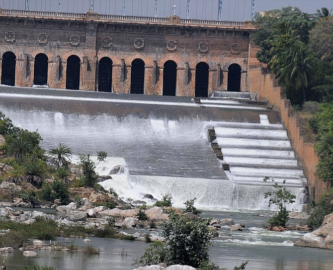 A view of the Krishnarajasagar Dam in Mysuru. Photograph: PTI
