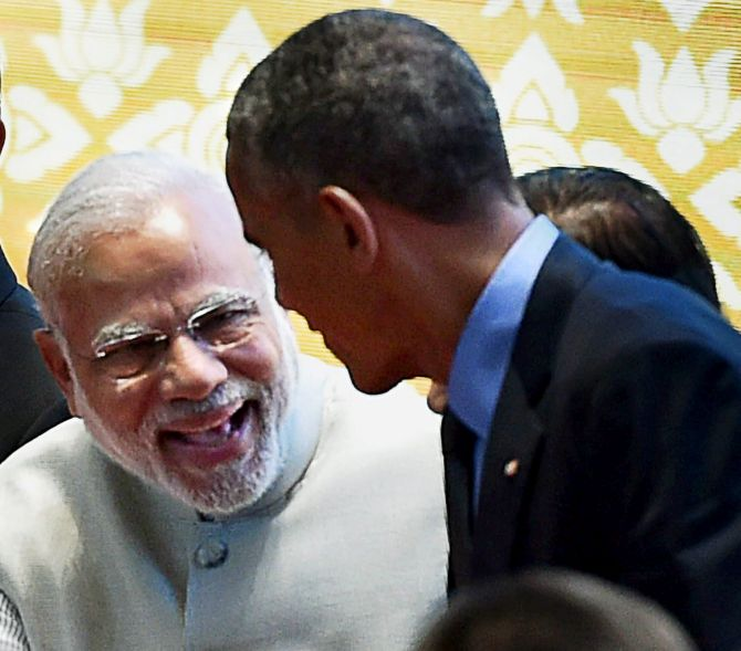 Prime Minister Narendra Modi with US President Barack Obama at their eighth meeting, this time in Laos, September 8, 2016.