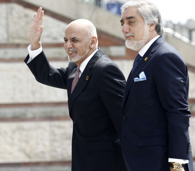 Afghanistan's President Ashraf Ghani and Afghanistan's Chief Executive and one-time Masoud associate Abdullah Abdullah. Photograph: Jerzy Dudek/Reuters
