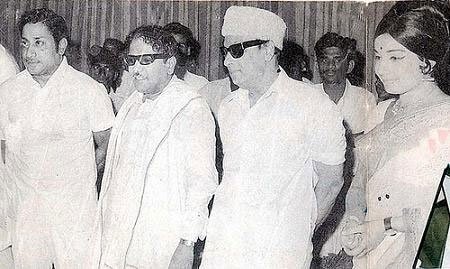 Sivaji Ganesan, M Karunanidhi, MGR and Jayalalitha in happier times.