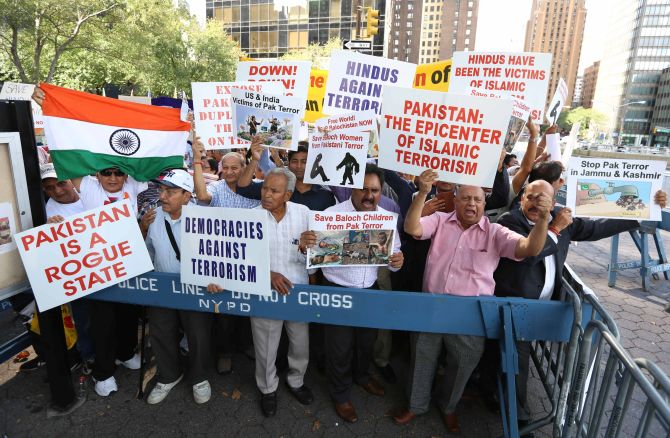 Anti-Pakistan demonstrations outside the UN